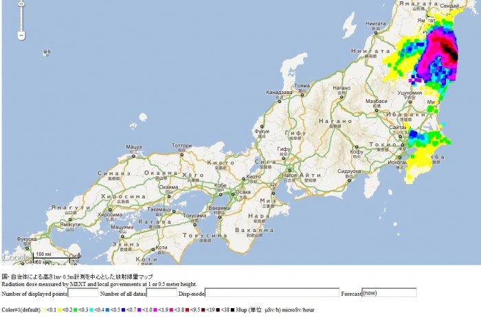 Официальные показания замеров уровня радиации в Японии
