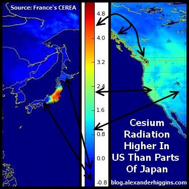 Модель радиоактивного загрязнения по данным французского исследовательского центра